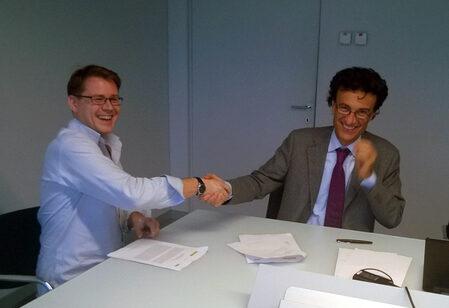 From the left - Mr Pasi Nieminen, Link Motion CEO, and Mr Antonio Falchetti, MTA CEO